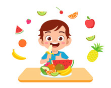 Cute Happy Kid Eat Salad Vegetable Fruits