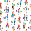 Cartoon Characters Different Shopping People Seamless Pattern Background. Vector