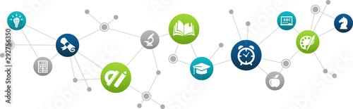 Fototapeta Back to school icon concept: education / studying / learning interconnected symbols - vector illustration obraz na płótnie