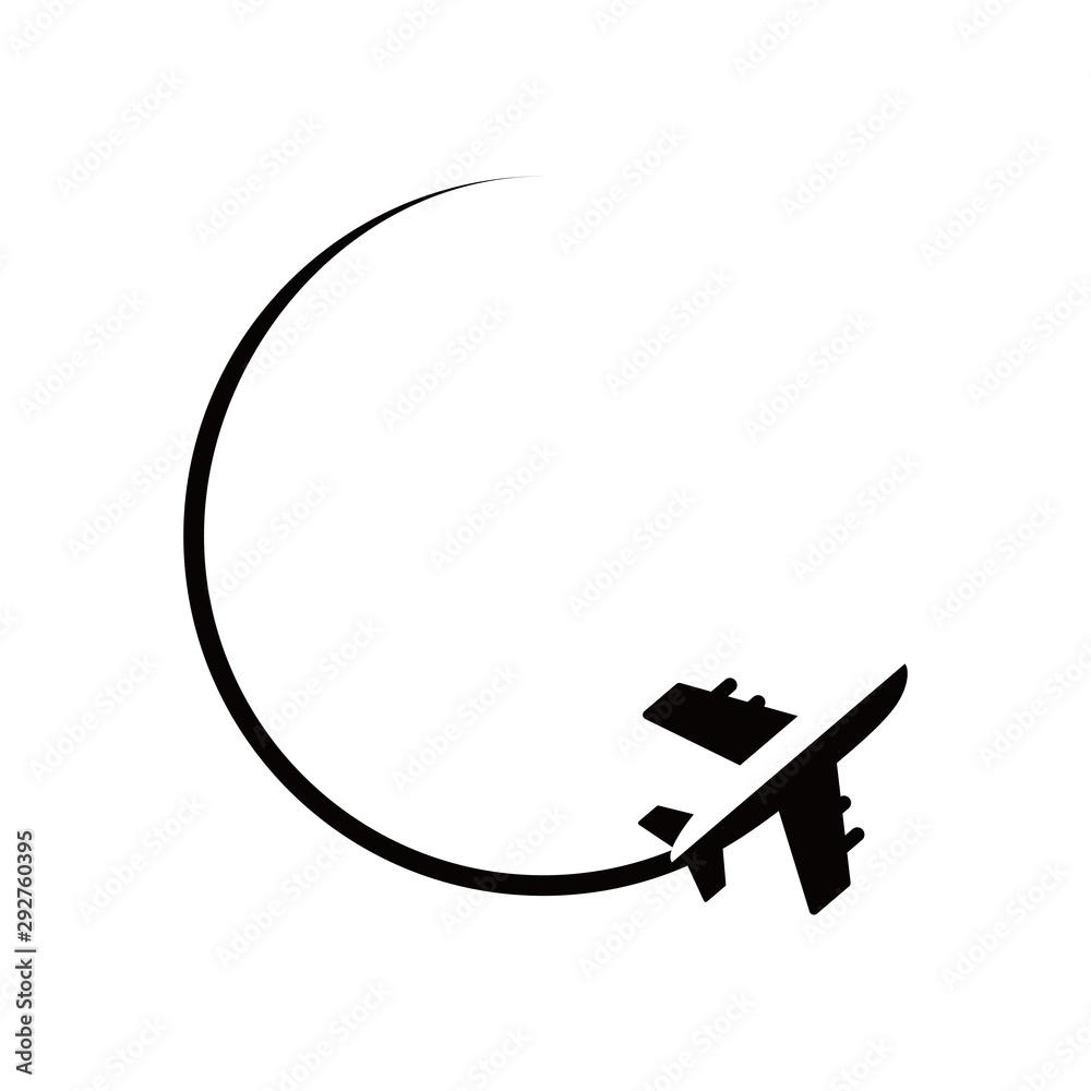 Fototapeta Travel the World Plane icon in circle. Vector illustration