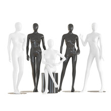 Five Faceless Female Mannequins Sit And Stand On An Isolated White Background. 3D Rendering