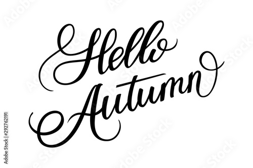Printed kitchen splashbacks Positive Typography hand drawn lettering hello autumn