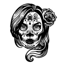 Dia De Los Muertos Vintage Vector Black Print With Woman Head With Day Of Dead Makeup And Rose In Her Hair Isolated On White.
