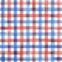 Watercolor Stripe Plaid Seamless Pattern. Blue And Red Stripes On White Background