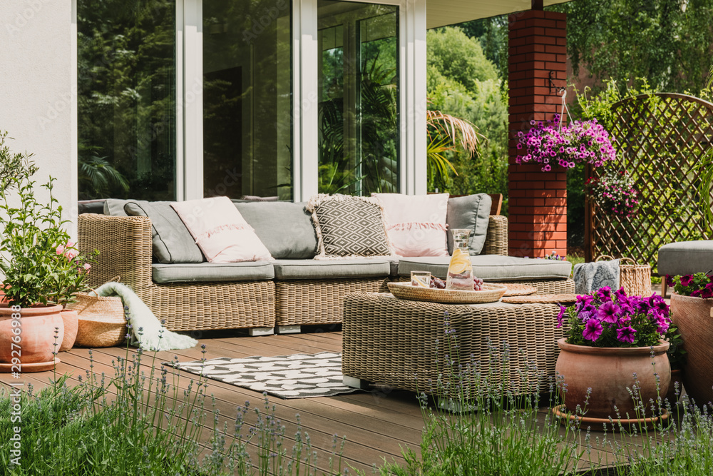 Fototapety, obrazy: Classy furniture on wooden terrace in green beautiful garden