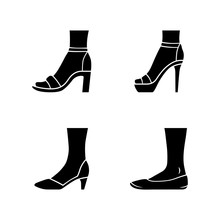 Women Formal Shoes Glyph Icons Set. Female Elegant High Heels Footwear. Classic Pumps, Ballerinas, Ankle Strap Sandals. Fashionable Stilettos. Silhouette Symbols. Vector Isolated Illustration
