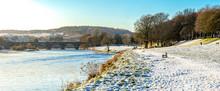 A Bridge Of Dee And Walking Path Along The River In Winter Season, Aberdeen, Scotland
