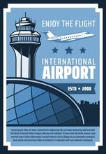International Airport, Airplane Flying In Sky