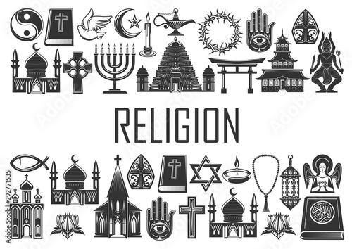 Fototapeta World religion icons, religious symbols obraz