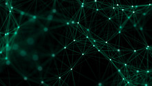 Abstract Digital Background. Big Data Visualization. Network Connection Structure. Science Green Background. 3d Rendering.