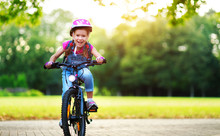 Happy Cheerful Child Girl Ridi...