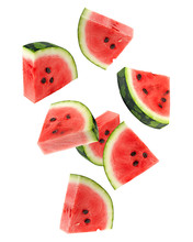 Falling Watermelon Isolated On...