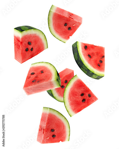 Obraz na plátně Falling watermelon isolated on white background, clipping path, full depth of fi