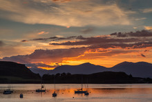 Orange Sunset Over The Harbor ...