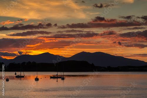 Obraz na płótnie Orange Sky at Sunset Over the Harbor at Oban, Scotland