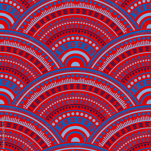 Foto auf Leinwand Boho-Stil Ethnic circle shapes seamless geometric pattern.