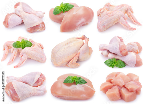 Stampa su Tela Raw chicken on white background