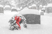 Wreath In Snow, Cemetery