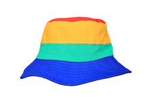 Colorful Fabric Bucket Hat Isolated On White Background. Sun Protection Beach Hat.