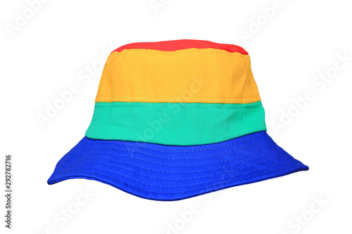 Obraz Colorful fabric bucket hat isolated on white background. Sun protection beach hat. - fototapety do salonu