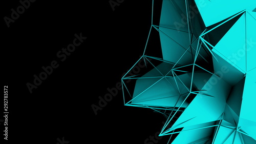 3d rendering fractal object with mesh grid in dark space, abstract modern backgr Canvas Print