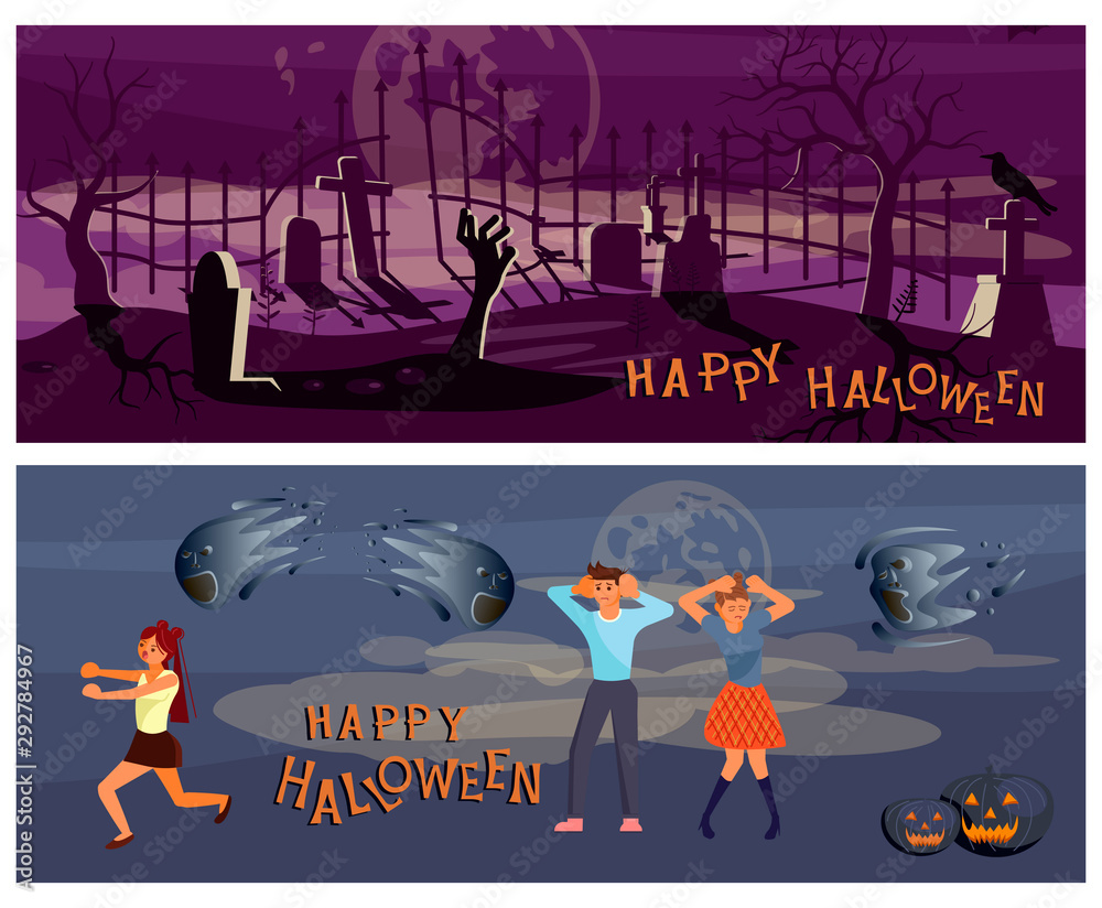 Fototapety, obrazy: Set of Happy halloween banners