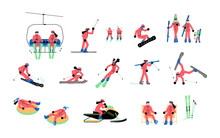 Set Of Skiers Isolated