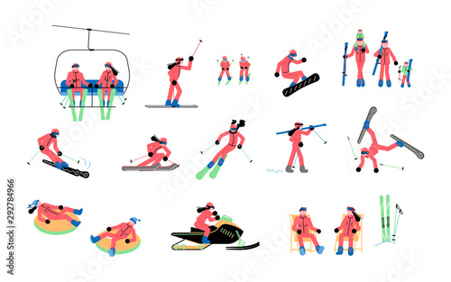 Cuadros en Lienzo  Set of Skiers isolated
