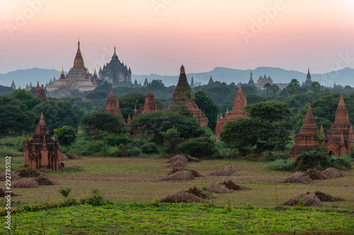 The land of pagodas in the twilight evening, Bagan is an ancient city and it has been certified by UNESCO as a World Heritage Site Canvas Print