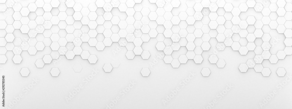 Fototapeta Bright white abstract hexagon wallpaper or background - 3d render