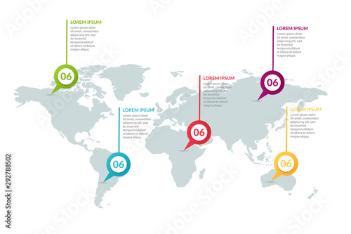 Fotomural infographic design with world map background