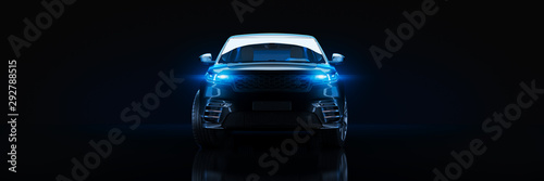 Obraz Sports car, studio setup, on a dark background. 3d rendering - fototapety do salonu