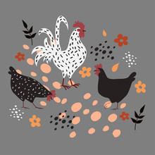 Two Hens And A Rooster On A Gr...
