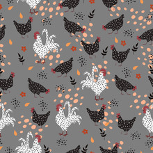 Pattern With Hens And Roosters On A Gray Background.