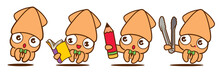 Cartoon Cute Squid With Bowtie...
