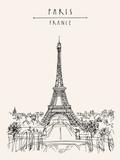 Fototapeta Fototapety z wieżą Eiffla - Paris, France, Europe. Eiffel Tower. French famous landmark. Hand drawing. European travel sketch. Vertical vintage hand drawn touristic postcard, poster, brochure illustration. EPS10 vector art