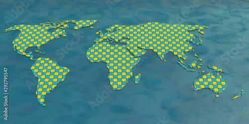 World Map Mosaic Texture 3D Render Canvas Print