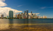 Panorama of reflections of Miami downtown district