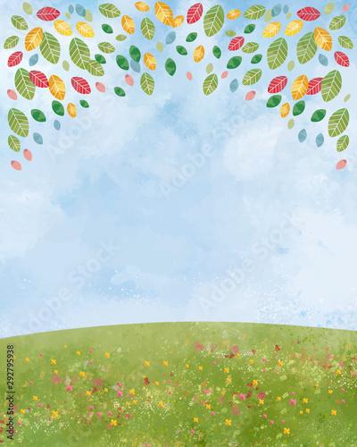 Fotografiet 草原:丘 大地 緑 景色 青空 空 自然 背景 水彩 手描き 青空 空 木立 葉 木々 森