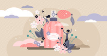 Perfume Vector Illustration. Flat Tiny Aroma Spray Product Persons Concept.