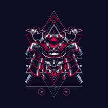 Samurai Head Illustration With Sacred Geometry Pattern