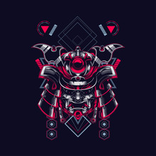 Samurai Head Illustration With...