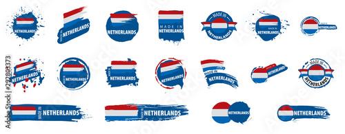 Fotografía  Netherlands flag, vector illustration on a white background