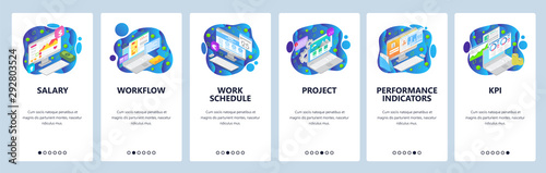 Photo  Business project website and mobile app onboarding screens vector template