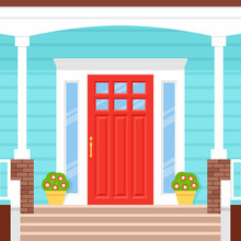 Front Door House. Vector. Porch Of Building. Blue Facade. Doorstep With Red Door, Potted Plants And Wooden Stairs. Home Entrance. Modern Outside Architecture In Flat Design. Cartoon Illustration.