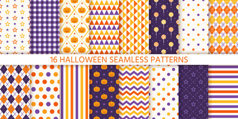 Seamless pattern. Halloween background. Vector. Haloween texture with pumpkin, candy, polka dot, star, stripe, zigzag. Geometric endless wrapping paper textile print. Orange yellow purple Illustration