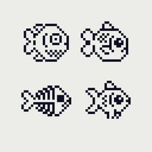 Fish Pixel Art Icons Set, Design For Logo, Sticker, Stamp, Web, Logo Shop, Mobile App, Fish Skeleton, Isolated Vector Illustration On White Background. Game Assets 8-bit Sprite.