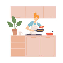 Woman Pours Oil In The Pan Nor In The Kitchen. Vector Illustration.