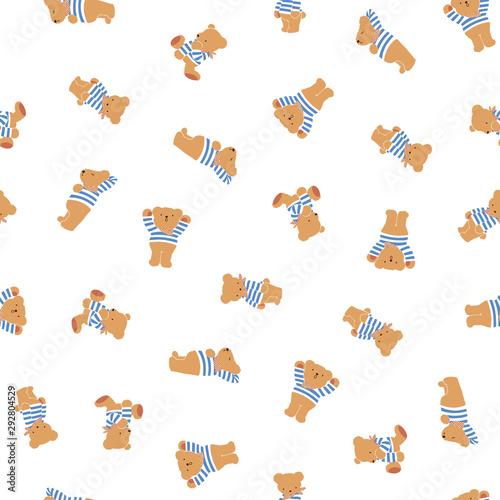 Cute little bear seamless pattern, Wallpaper Mural
