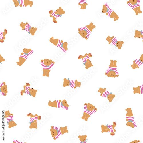 Photo Cute little bear seamless pattern,
